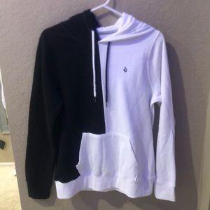 volcom half black half white hoodie